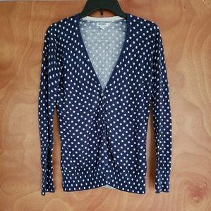 Old Navy blue polka dot cardigan